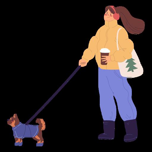 Woman walking a dog illustration