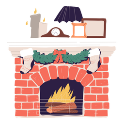 Wood stove christmas decoration illustration