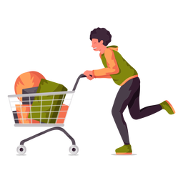 Young boy shopping cart