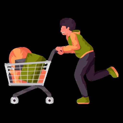 Young boy shopping cart