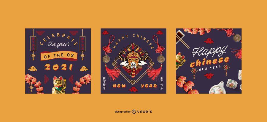 Conjunto de publicaciones de redes sociales de año nuevo chino