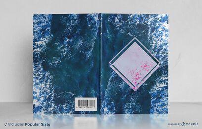 Diseño de portada de libro de olas del océano