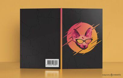 Diseño de portada de libro de gato de gafas de sol