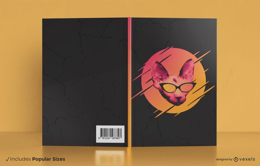 Design da capa do livro do gato dos óculos de sol