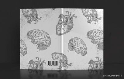 Diseño de portada de libro de cerebros y corazones
