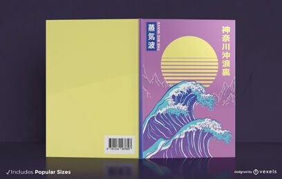 Vaporwave ocean book cover design