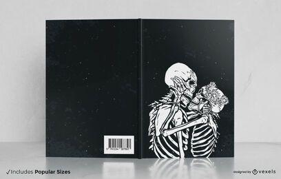 Desenho da capa do livro com beijo de esqueleto