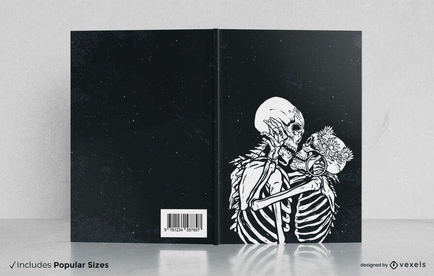 Diseño de portada de libro de beso esqueleto