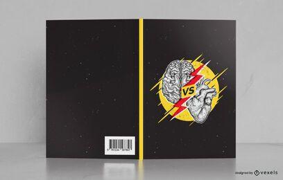 Diseño de portada de libro cerebro vs corazón