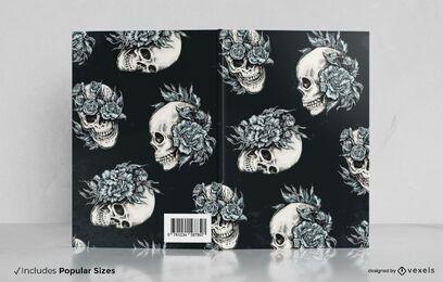 Diseño de portada de libro de calaveras florales