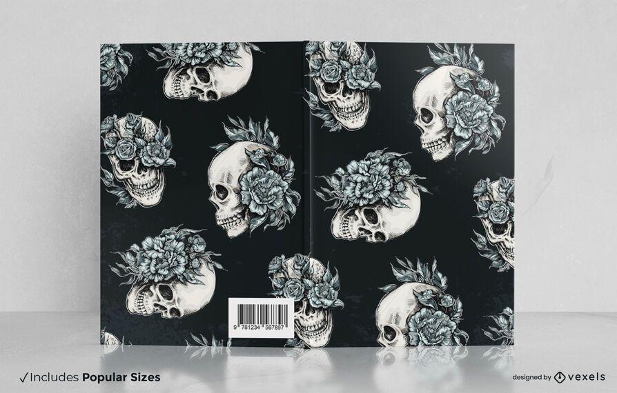 Design de capa de livro com caveiras florais