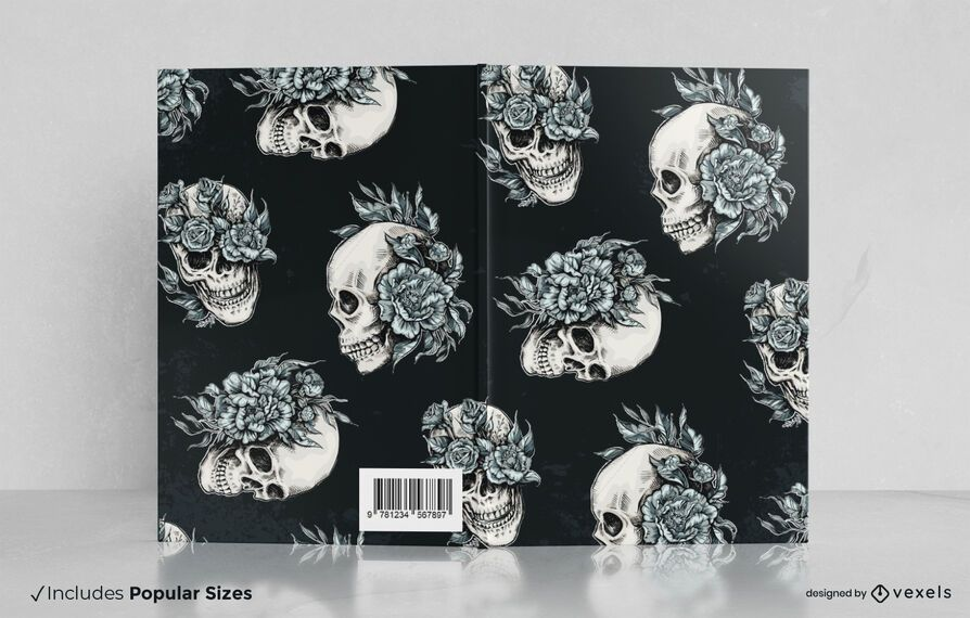 Floral skulls book cover design