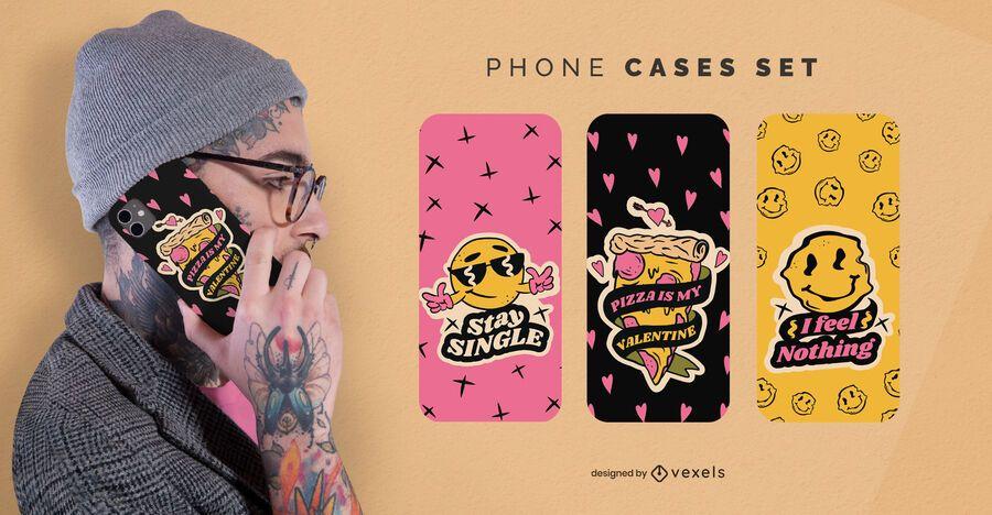 Conjunto de capas de telefone anti-namorados