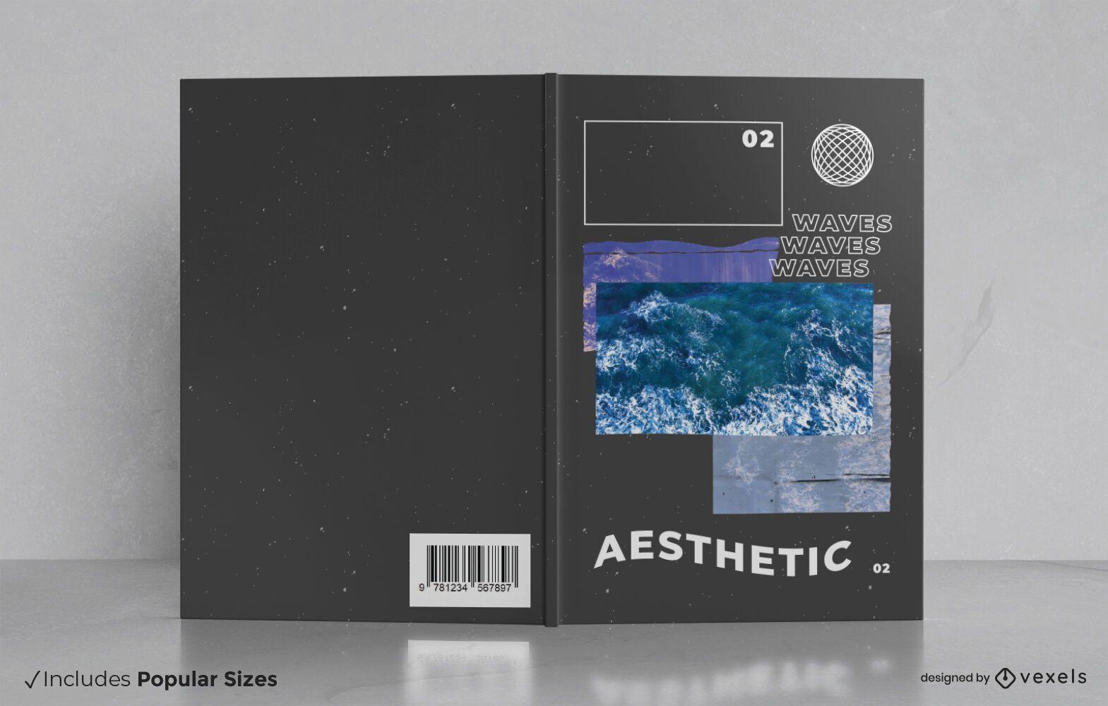 Aesthetic vaporwave book cover design