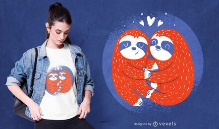 Diseño de camiseta de perezosos de San Valentín.