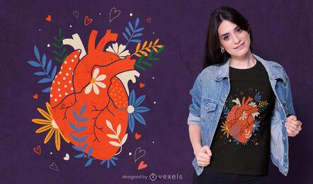 Diseño de camiseta de corazón realista floral