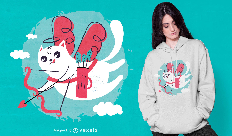 Diseño de camiseta de gato Cupido