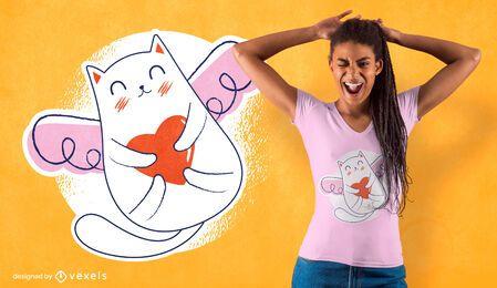 Diseño de camiseta de gato de San Valentín.