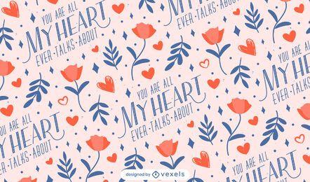 Diseño de patrón de día de san valentín de mi corazón