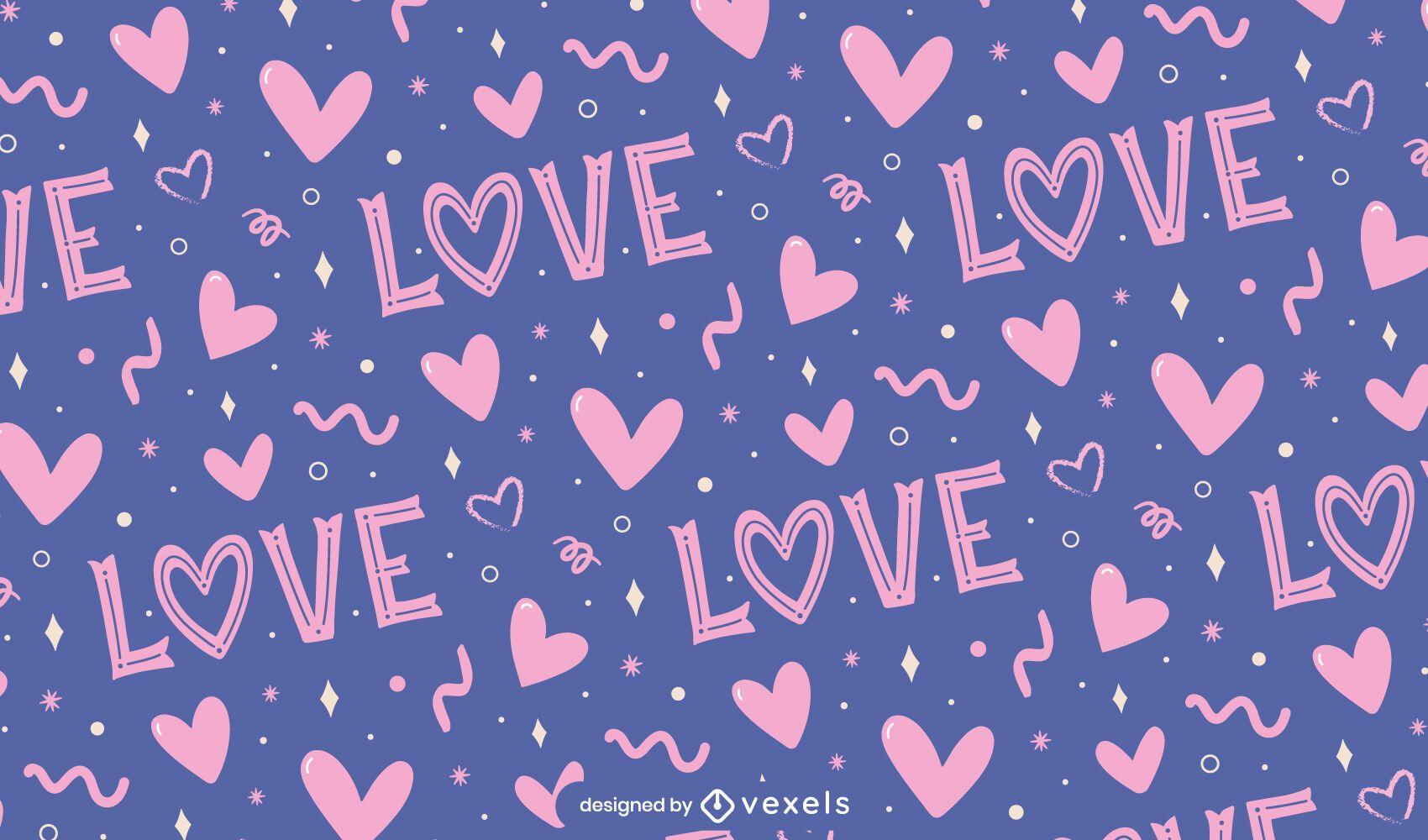 Love valentine's day pattern design