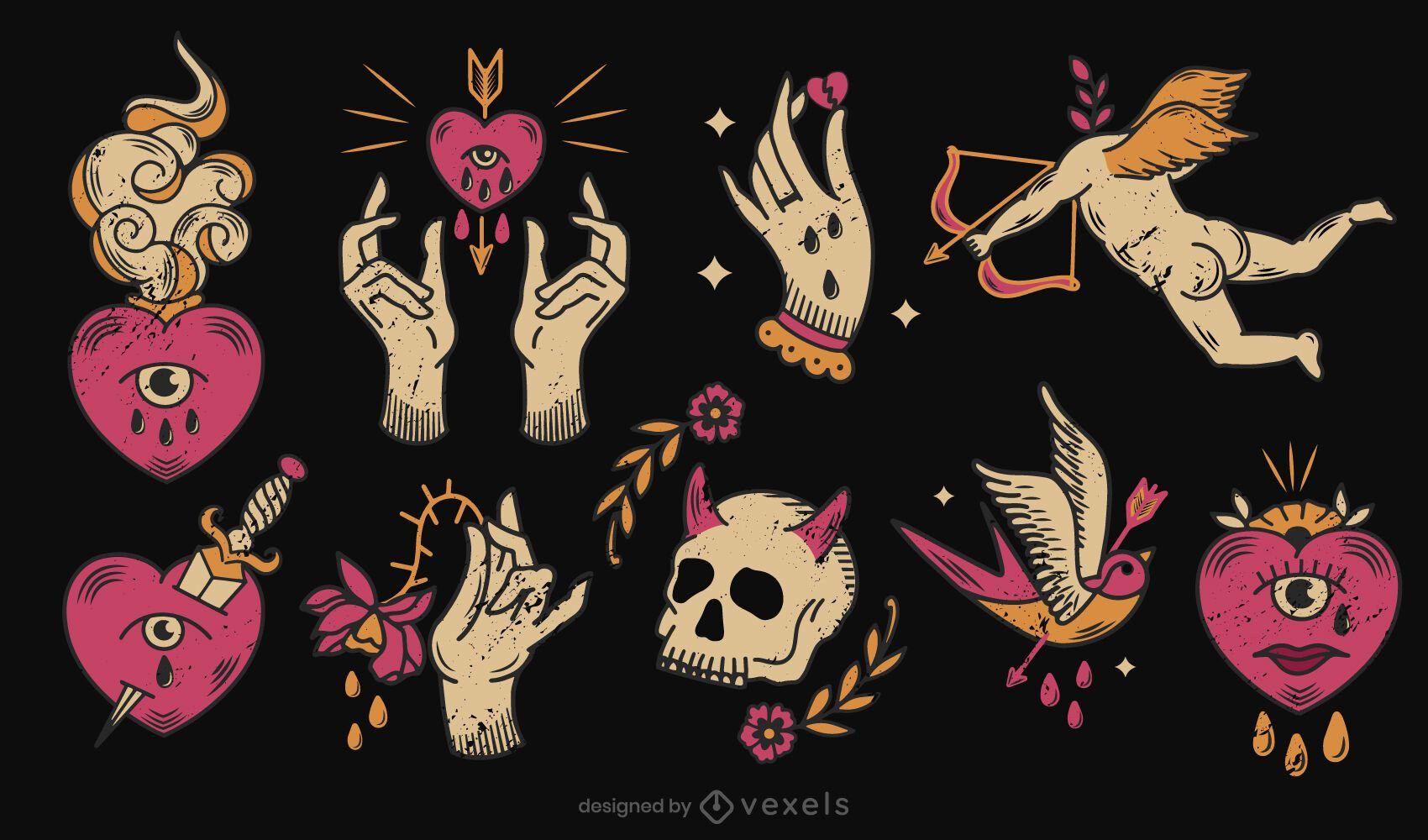 Anti valentines tattoo set