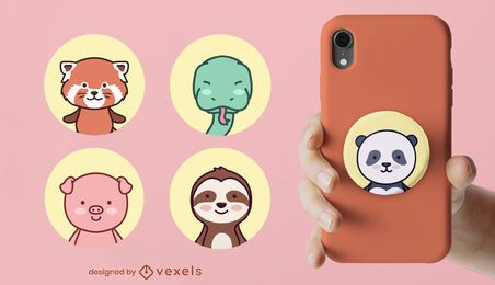 Animales lindo set popsocket
