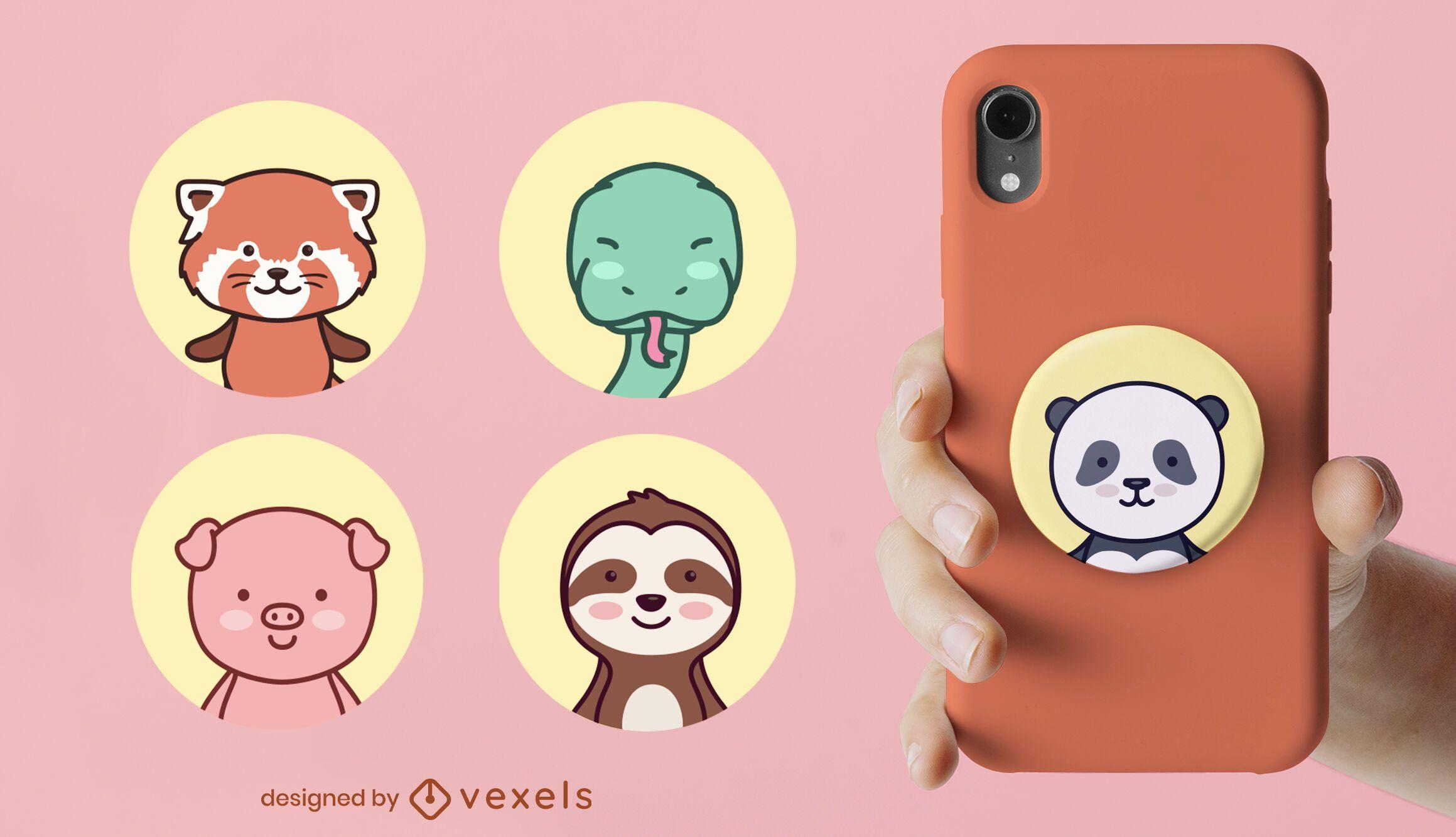 Animals cute popsocket set