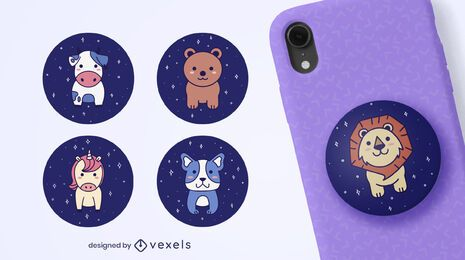 Cute space animals popsocket set