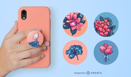 Conjunto de flores popsocket