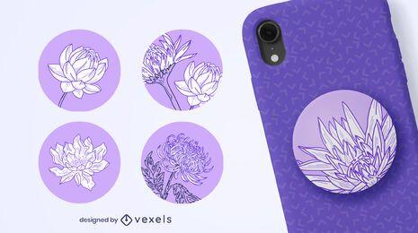 Popsocket de flores dibujadas a mano