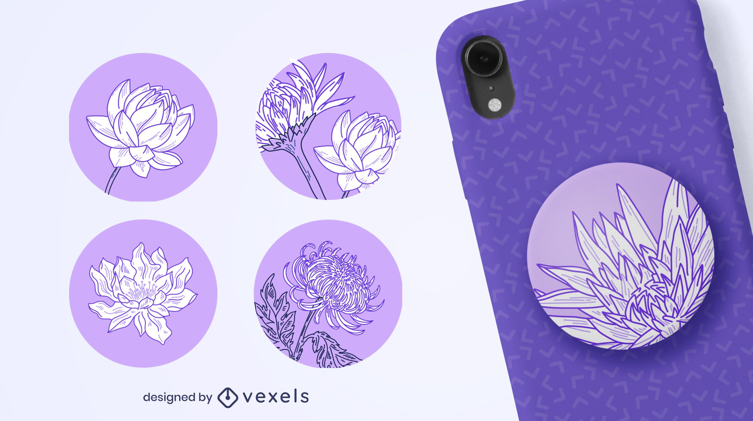 Hand drawn flowers popsocket set