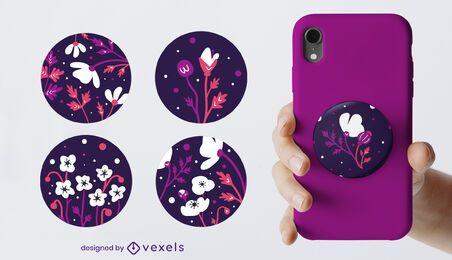 Conjunto floral popsocket