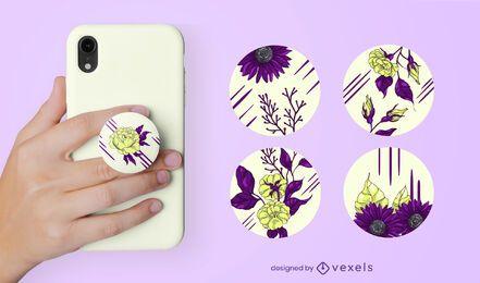 Conjunto de flores e folhas