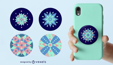 Blue mandalas popsocket set