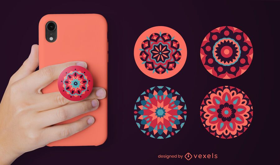 Mandala flowers popsocket set