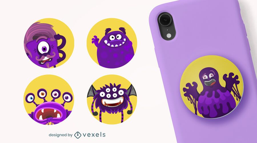 Cute monsters popsocket set