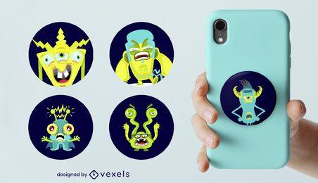 Conjunto de popsocket de monstruos de dibujos animados