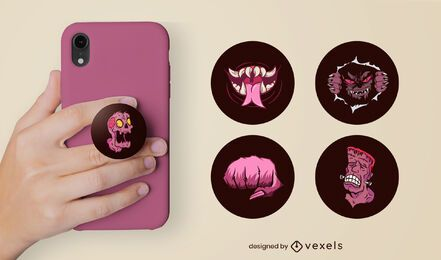 Spooky monsters popsocket set