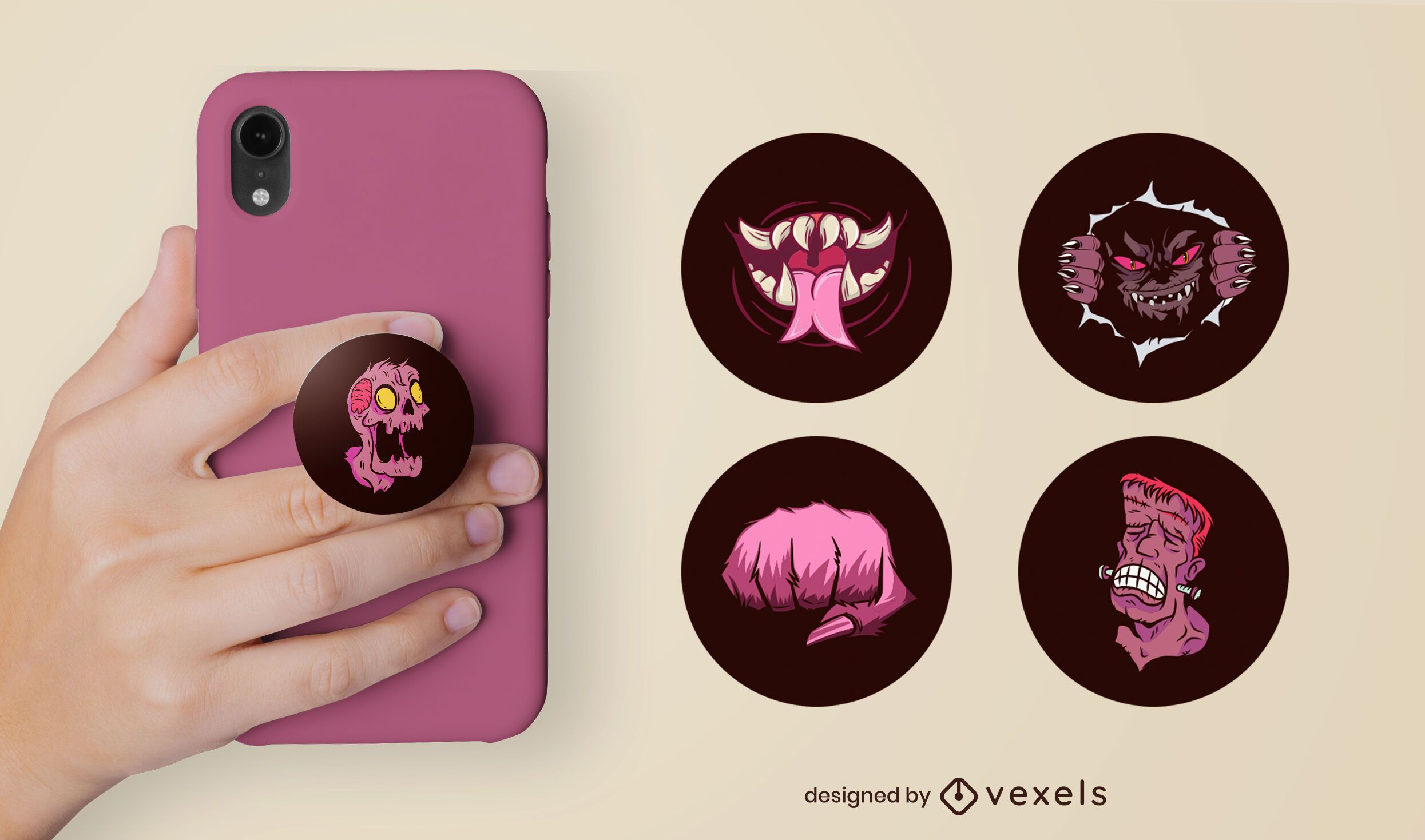 Spooky monsters popsocket set