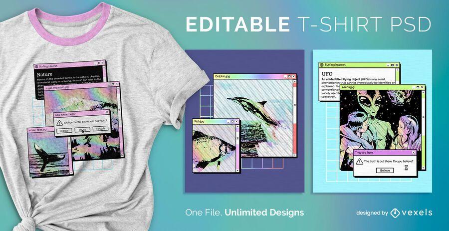 Camiseta PSD com janela pop-up