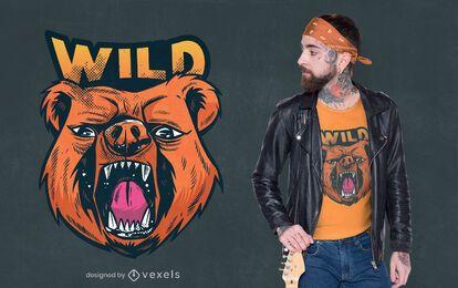 Diseño de camiseta de oso salvaje
