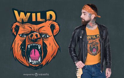 Wild bear t-shirt design