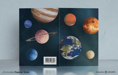 Design da capa do livro no espaço sideral
