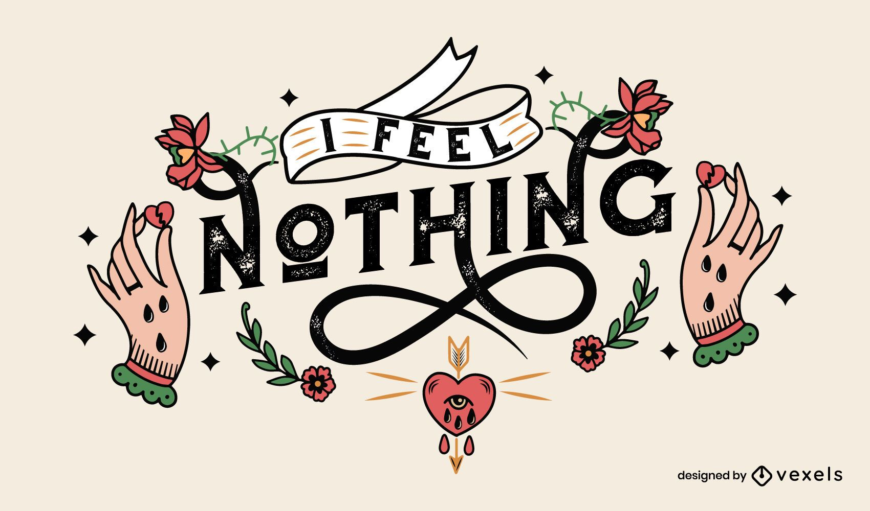 Feel nothing anti valentines lettering