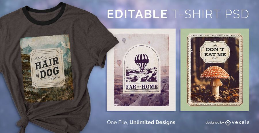 Label t-shirt PSD design
