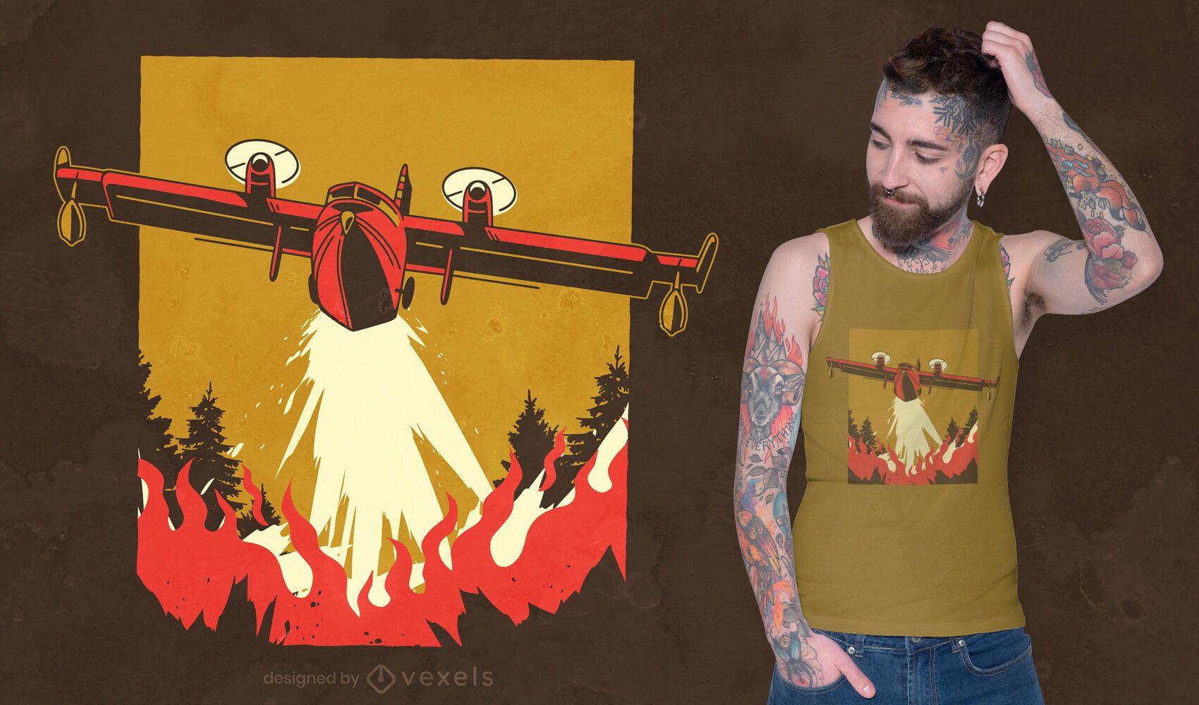 Dise?o de camiseta de extinci?n de incendios a?rea.