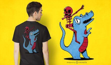 Diseño de camiseta de dinosaurio montando esqueleto