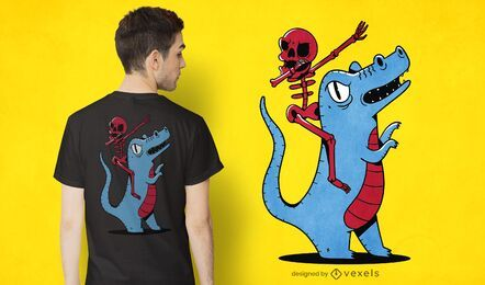 Skeleton riding dinosaur t-shirt design