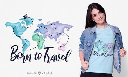 Nacido para viajar diseño de camiseta.