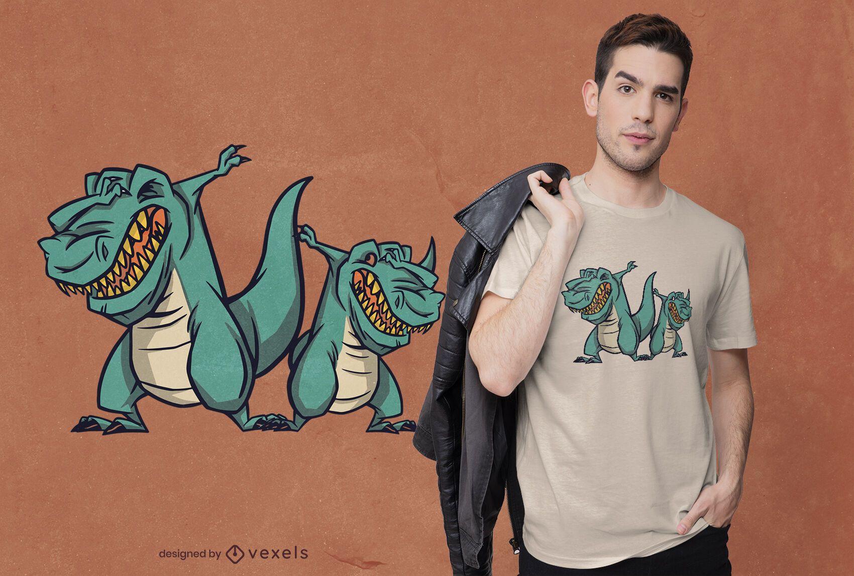 Dabbing dinosaurs t-shirt design
